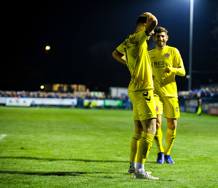 Fleetwood Town's Wes Burns celebrates scoring his side's second goal <br /> <br /> Photographer Alex Dodd/CameraSport<br /> <br /> The Emirates FA Cup Second Round - Guiseley v Fleetwood Town - Monday 3rd December 2018 - Nethermoor Park - Guiseley<br />  <br /> World Copyright &copy; 2018 CameraSport. All rights reserved. 43 Linden Ave. Countesthorpe. Leicester. England. LE8 5PG - Tel: +44 (0) 116 277 4147 - admin@camerasport.com - www.camerasport.com