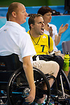 Coach Brad Dubberley and team member Grant Boxall yell encouragement as Australia take on Canada in the Wheelchair Rugby at the USTB Gymnasium at the Paralympic games, Beijing, China 15th September 2008