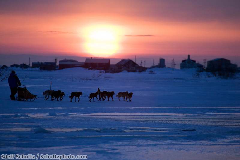 Mike Jayne mushes inbound to Unalakleet into setting sun during 2006 Iditarod Western Alaska Winter