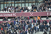 Wet st ham fans against the board during West Ham United vs Burnley, Premier League Football at The London Stadium on 10th March 2018