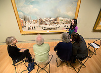 NWA Democrat-Gazette/JASON IVESTER --03/16/2015--<br /> Amanda Driver talks visitors about &quot;Winter Scene in Brooklyn&quot; by Francis Guy as part of the Creative Connections program on Monday, March 16, 2015, inside Crystal Bridges Museum of American Art in Bentonville.