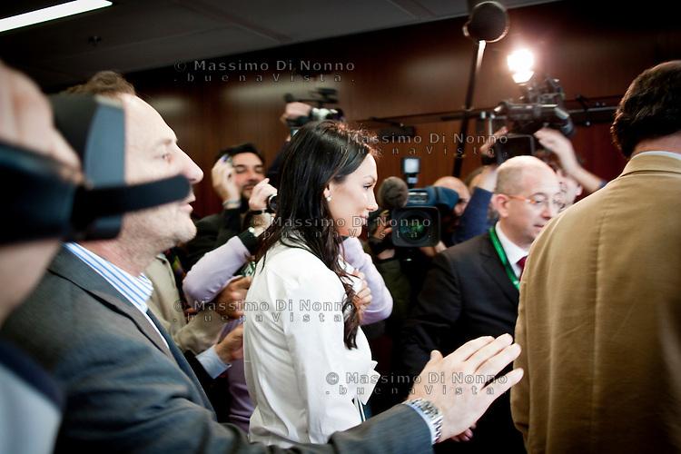 Milano: Nicole Minetti durante una pausa del consiglio regionale della Lombardia