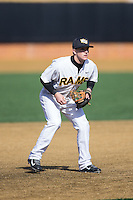 VCU Rams third baseman Matt Davis (17) on defense against the Georgetown Hoyas at Wake Forest Baseball Park on February 13, 2015 in Winston-Salem, North Carolina.  The Rams defeated the Hoyas 6-3.  (Brian Westerholt/Four Seam Images)