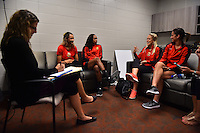 Houston, TX - Saturday Oct. 08, 2016: Lynn Williams, Jessica McDonald, Abigail Dahlkemper, Abby Erceg during a press conference prior to the National Women's Soccer League (NWSL) Championship match between the Washington Spirit and the Western New York Flash at Houston Sports Park.
