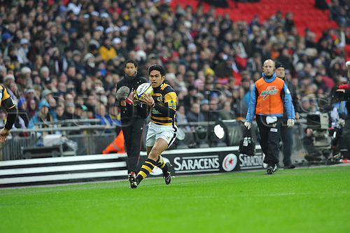 26.12.2010 David Lemi the London Wasps winger  in action during the Aviva Premiership Rugby Union match from Wembley Stadium. Saracens v Wasps Dec 26th