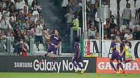Calcio, Serie A: Juventus vs Fiorentina. Torino, Juventus Stadium, 20 agosto 2016.<br /> Fiorentina's Nikola Kalinic, left, celebrates with teammates, from second from left, Carlos Sanchez, Cristian Tello and Matias Vecino, after scoring during the Italian Serie A football match between Juventus and Fiorentina at Turin's Juventus Stadium, 20 August 2016.<br /> UPDATE IMAGES PRESS/Isabella Bonotto