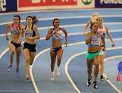 10th February 2019, Arena Birmingham, Birmingham, England; Spar British Athletics Indoor Championships; Shelayna Oskan-Clarke leads into the final lap in the Women's 800m final during Day Two of the Spar Indoor Athletics Championships at Birmingham Arena
