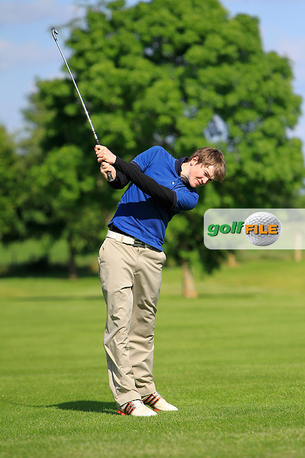 Conor Slevin (New Forest) on the 17th during the Leinster Youths Amateur Open Championship at Esker Hills on Monday 16th June 2014.<br /> Picture:  Thos Caffrey / www.golffile.ie