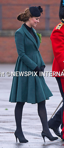 KATE EXPECTING 2ND CHILD<br /> Kensington Palace has confirmined that the Duke and Duchess of Cambridge are expecting their second child.<br /> <br /> CATHERINE, DUCHESS OF CAMBRIDGE_AND PRINCE WILLIAM<br /> attend the St. Patrick's Day Parade at Mons Barracks, Aldershot_17/03/2013<br /> Prince William attended as Colonel of the Regiment while Kate presented the traditional sprgs of shamrock to the Officers and Guardsmen<br /> Mandatory credit photo:&copy;Dias/NEWSPIX INTERNATIONAL<br /> <br /> **ALL FEES PAYABLE TO: &quot;NEWSPIX INTERNATIONAL&quot;**<br /> <br /> PHOTO CREDIT MANDATORY!!: NEWSPIX INTERNATIONAL(Failure to credit will incur a surcharge of 100% of reproduction fees)<br /> <br /> IMMEDIATE CONFIRMATION OF USAGE REQUIRED:<br /> Newspix International, 31 Chinnery Hill, Bishop's Stortford, ENGLAND CM23 3PS<br /> Tel:+441279 324672  ; Fax: +441279656877<br /> Mobile:  0777568 1153<br /> e-mail: info@newspixinternational.co.uk