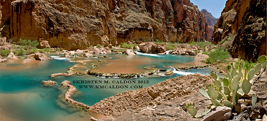 A Panoramic Image from the Little Colorado River Gorge. Around here on the river, travertine starts building up creating beautiful cascades, but hasn't started turning the water milky blue yet.