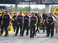 Sep 3, 2018; Clermont, IN, USA; Crew members for NHRA top fuel driver Billy Torrence during the US Nationals at Lucas Oil Raceway. Mandatory Credit: Mark J. Rebilas-USA TODAY Sports