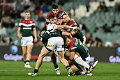 4th November 2017, Sydney Football Stadium, Sydney, Australia; Rugby League World Cup, England versus Lebanon; Alex Walmsley of England is tackled by Ahmad Ellaz and Chris Saab of Lebanon