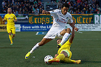 New York Cosmos player Walter Restrepo (whilte ) fights for the ball against Tampa Bay Rowdies player Ben Sweat during their soccer match in the North American Soccer League in New York. Eduardo MunozAlvarez/VIEWpress 04/18/2015