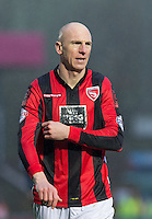 Kevin Ellison of Morecambe during the Sky Bet League 2 match between Wycombe Wanderers and Morecambe at Adams Park, High Wycombe, England on 2 January 2016. Photo by Andy Rowland / PRiME Media Images