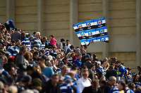 A Bath Rugby fan in the crowd waves a giant flag in support. Heineken Champions Cup match, between Bath Rugby and Stade Toulousain on October 13, 2018 at the Recreation Ground in Bath, England. Photo by: Patrick Khachfe / Onside Images