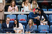 Paul Bettany and Jennifer Connelly front row and Hasan Minhaj in the row behind watch the final between Rafael Nadal of Spain and Daniil Medvedev of Russia at Arthur Ashe Stadium at the USTA Billie Jean King National Tennis Center on September 08, 2019 in New York City. <br /> CAP/EL<br /> ©Elena Leoni/Capital Pictures