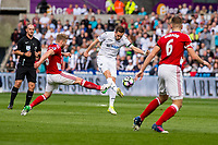 Sunday April 02 2017 <br /> Pictured: Gylfi Sigurdsson of Swansea City in action <br /> Re: Premier League match between Swansea City and Middlesbrough at The Liberty Stadium, Swansea, Wales, UK. SUnday 02 April 2017
