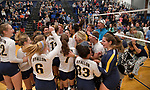 O'Fallon students pour out of the bleachers and onto the gym floor to celebrate with the volleyball players after they defeated Edwardsville in a Class 4A volleyball sectional semifinal game on Monday October 29, 2018 at Belleville East HS. <br /> Tim Vizer/Special to STLhighschoolsports.com