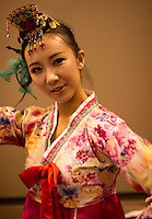 Korean Folk dancers performing the traditional Fan Dance