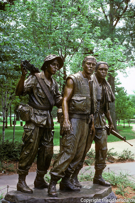 Washington D.C. : Vietnam War Memorial--sculpture by Frederick E. Hart, 1984. Photo '85.