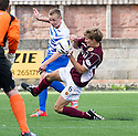 Penalty controversy number 2 : Morton's Robbie Crawford's cross seems to strike the hands of Stenny's Kieran Millar but Referee Alan Muir gives a corner.