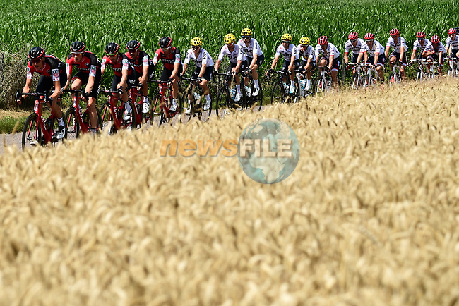 The peloton with BMC, Sky and Trek-Segafredo on the front during Stage 5 of the 104th edition of the Tour de France 2017, running 160.5km from Vittel to La Planche des Belles Filles, France. 5th July 2017.<br /> Picture: ASO/Alex Broadway | Cyclefile<br /> <br /> <br /> All photos usage must carry mandatory copyright credit (&copy; Cyclefile | ASO/Alex Broadway)