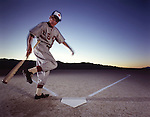 Playing baseball in Black Rock Desert, Nevada.