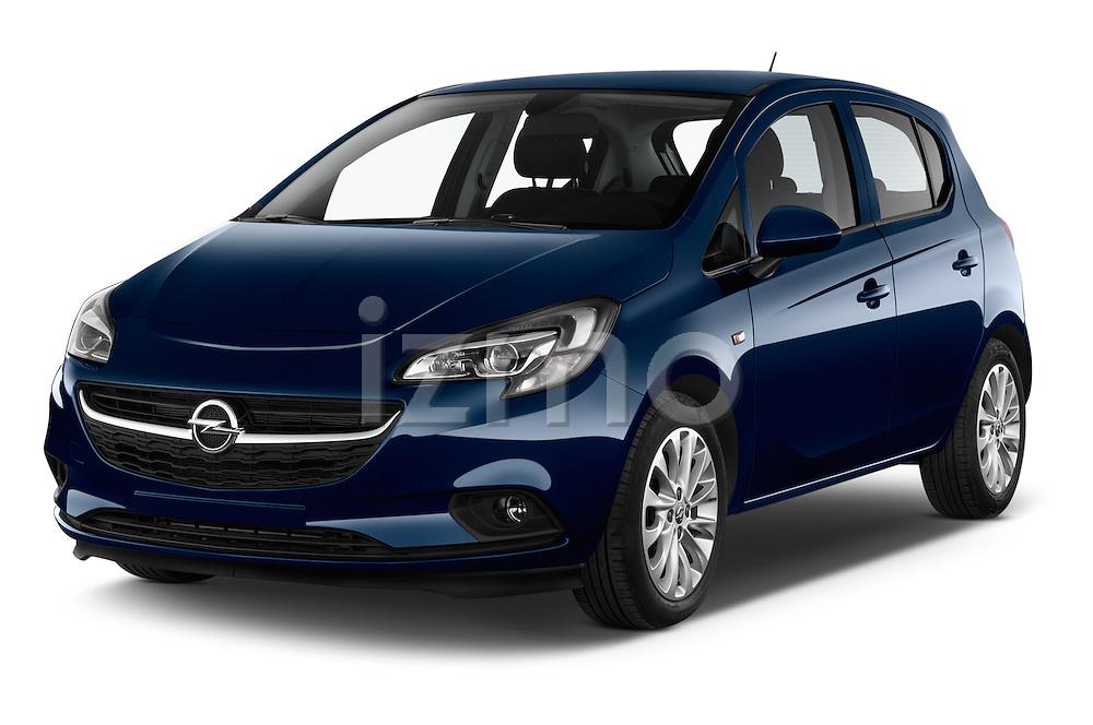 2015 Opel CORSA Enjoy 5 Door Hatchback Angular Front stock photos of front three quarter view