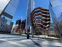 New York, New York City. New Yorkers are told to stay home during the corona virus, (COVID-19) so New York has become eerily empty. The Vessel at Hudson Yards devoid of people.