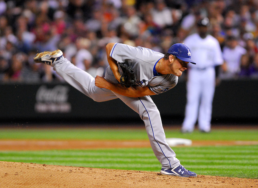 August 25, 2009: Dodgers starting pitcher Clayton Kershaw during a regular season game between the Los Angeles Dodgers and the Colorado Rockies at Coors Field in Denver, Colorado. The Rockies beat the Dodgers 5-4 in 10 innings. *****For editorial use only*****