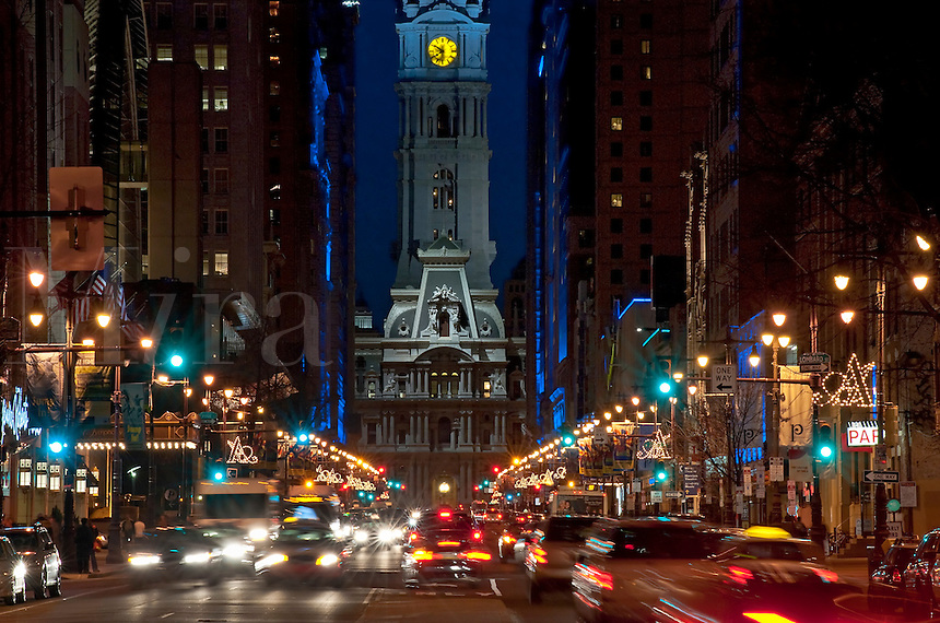 Broad Street nightlife leading to City Hall, Philadelphia, Pennsylvania, USA