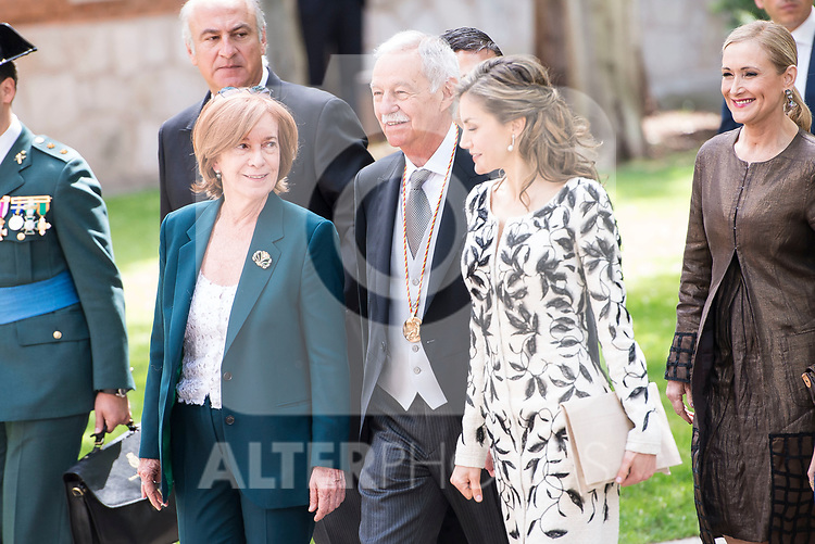 "Eduardo Mendoza Garriga and Queen Letizia during award ceremony of literature in Spanish ""Miguel de Cervantes"" at University of Alcala de Henares in Madrid., April 20, 2017. Spain.<br /> (ALTERPHOTOS/BorjaB.Hojas)"