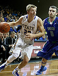 SIOUX FALLS, SD - NOVEMBER 30:  Reed Tellinghuisen #23 from South Dakota State University tries to get a step past Brett Comer #0 from Florida Gulf Coast in the second half of their game Sunday afternoon at the Sanford Pentagon in Sioux Falls. (Photo by Dave Eggen/inertia)