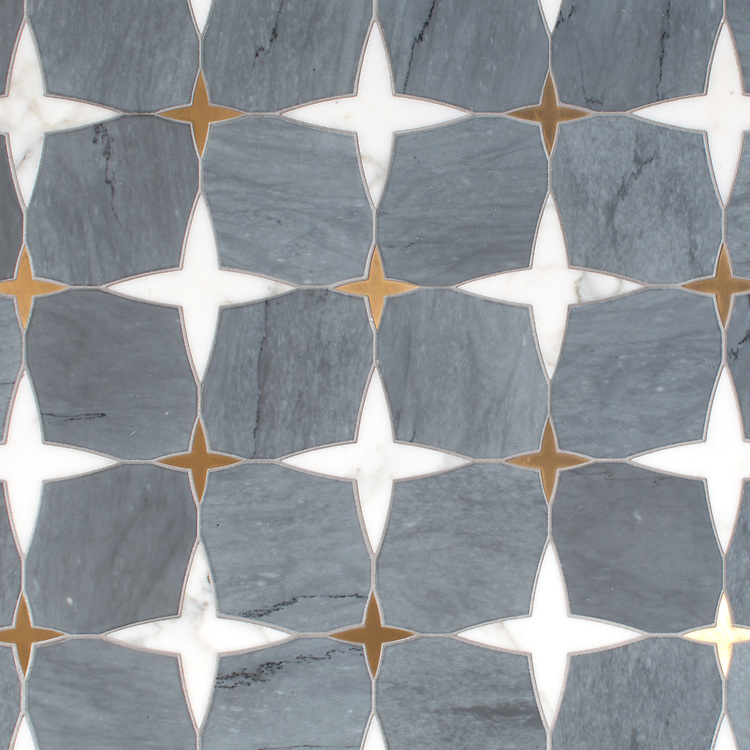 Michael, a waterjet stone mosaic, shown in honed Bardiglio, polished Calacatta Tia, and Brass, is part of the Trove collection for New Ravenna.