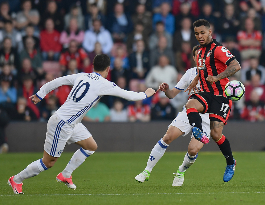 Bournemouth's Joshua King (R) in action against Chelsea<br /> <br /> Bournemouth 1 - Chelsea 3<br /> <br /> Photographer David Horton/CameraSport<br /> <br /> The Premier League - Bournemouth v Chelsea - Saturday 8th April 2017 - Vitality Stadium - Bournemouth<br /> <br /> World Copyright &copy; 2017 CameraSport. All rights reserved. 43 Linden Ave. Countesthorpe. Leicester. England. LE8 5PG - Tel: +44 (0) 116 277 4147 - admin@camerasport.com - www.camerasport.com