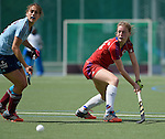 Mannheim, Germany, April 26: During the 1. Bundesliga Damen match between Mannheimer HC (red) and Uhlenhorster HC (light blue) on April 26, 2015 at Mannheimer HC in Mannheim, Germany. Final score 1-2 (0-2). (Photo by Dirk Markgraf / www.265-images.com) *** Local caption *** Antonia Hering #34 of Mannheimer HC