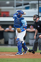Burlington Royals catcher Xavier Fernandez (34) on defense against the Pulaski Yankees at Burlington Athletic Park on August 6, 2015 in Burlington, North Carolina.  The Royals defeated the Yankees 1-0. (Brian Westerholt/Four Seam Images)