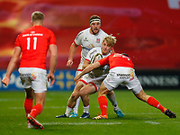 9th November 2019; Thomond Park, Limerick, Munster, Ireland; Guinness Pro 14 Rugby, Munster versus Ulster; Rob Lyttle of Ulster is tackled by Tyler Bleyendaal of Munster - Editorial Use