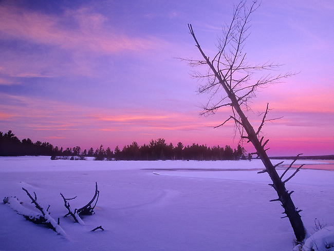 Twilght colors the snow covered Sand Bay near Baraga and L'Anse Bay, Lake Superior, Baraga County, Keweenaw Peninsula, Upper Peninsula, Michigan