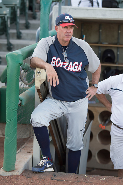 May 22, 2014; Stockton, CA, USA; Gonzaga Bulldogs head coach Mark Machtolf during the WCC Baseball Championship at Banner Island Ballpark.