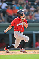 Left fielder Zachary Coppola (2) of the Lakewood BlueClaws bats in a game against the Greenville Drive on Sunday, June 26, 2016, at Fluor Field at the West End in Greenville, South Carolina. Greenville won, 2-1. (Tom Priddy/Four Seam Images)