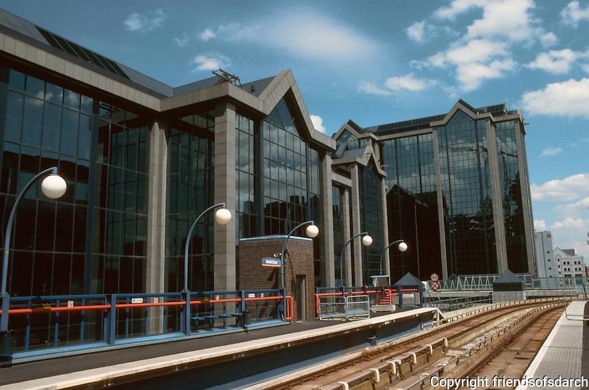 London Docklands:  South Quay--Enterprise Zone Architecture.  Photo '90.