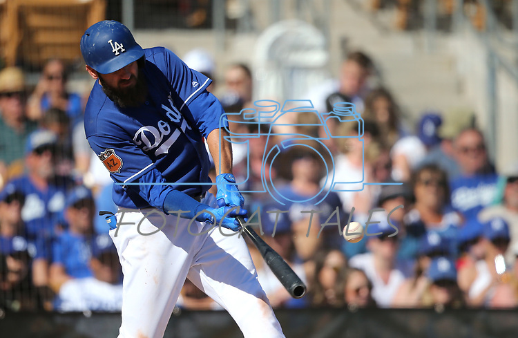 Los Angeles Dodgers' Scott Van Slyke hits against the Arizona Diamondbacks in a spring training game in Glendale, Ariz., on Friday, March 24, 2017.<br /> Photo by Cathleen Allison/Nevada Photo Source
