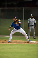 AZL Cubs 1 first baseman Franklin Tineo (11) waits to receive a throw during an Arizona League game against the AZL Padres 1 at Sloan Park on July 5, 2018 in Mesa, Arizona. The AZL Cubs 1 defeated the AZL Padres 1 3-1. (Zachary Lucy/Four Seam Images)