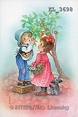 Interlitho, Emilio, CHILDREN, nostalgic, paintings, boy, girl, appletree(KL3698,#K#) Kinder, niños, nostalgisch, nostálgico, illustrations, pinturas