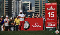 Andy Sullivan (ENG) in action during the Final Round of the 2016 Omega Dubai Desert Classic, played on the Emirates Golf Club, Dubai, United Arab Emirates.  07/02/2016. Picture: Golffile | David Lloyd<br /> <br /> All photos usage must carry mandatory copyright credit (&copy; Golffile | David Lloyd)