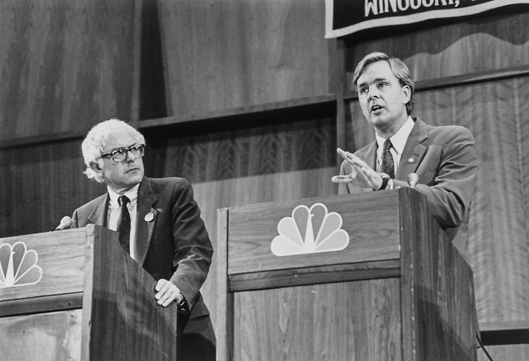 Rep. Bernie Sanders, I-Vt., and Rep. Peter Plympton Smith, R-Vt., debate in Burlington, Vermont on Oct. 22, 1990. (Photo by Laura Patterson/CQ Roll Call)
