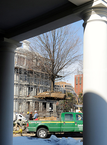 Workers temporarily remove a tree planted by late United States President Ronald Reagan from in front of the West Wing of the White House in Washington, DC, on Saturday, February 20, 2010..Credit: Olivier Douliery / Pool via CNP