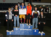 Hank Penree (1st - Frankfort Schuyler); Brad Eichelberger (2nd - Fredonia); Jake Dale (3rd - Keshequa); Logan Rock (4th - Warrensburg); Julius Anglikas (5th - Southhampton); and Noah Sibley (6th - Windsor) pose on the podium for the Division Two 215 weight class during the NY State Wrestling Championship finals at Blue Cross Arena on March 9, 2009 in Rochester, New York.  (Copyright Mike Janes Photography)