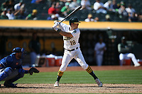 OAKLAND, CA - AUGUST 16:  Chad Pinder #18 of the Oakland Athletics bats against the Kansas City Royals during the game at the Oakland Coliseum on Wednesday, August 16, 2017 in Oakland, California. (Photo by Brad Mangin)